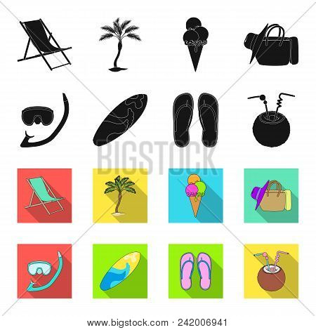 Diving, Surfing, Cocktail.summer Vacation Set Collection Icons In Black, Flet Style Vector Symbol St