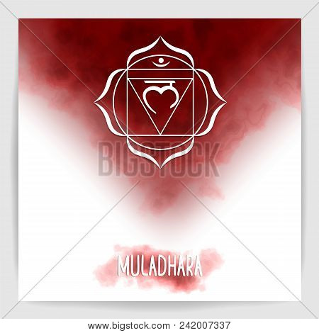 First, Root Chakra - Muladhara. Illustration Of One Of The Seven Chakras. The Symbol Of Hinduism, Bu