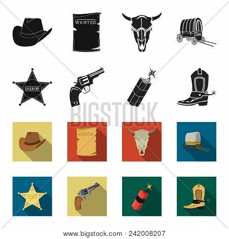 Star Sheriff, Colt, Dynamite, Cowboy Boot. Wild West Set Collection Icons In Black, Flet Style Vecto