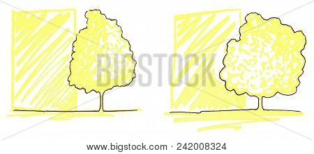 Monochrome Trees Silhouette Line Art Sketch Isolated