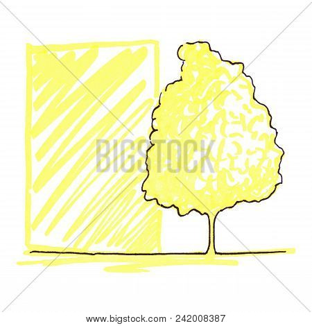 Monochrome Tree Silhouette Line Art Sketch Isolated