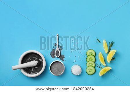 Homemade Effective Acne Remedy And Ingredients On Color Background