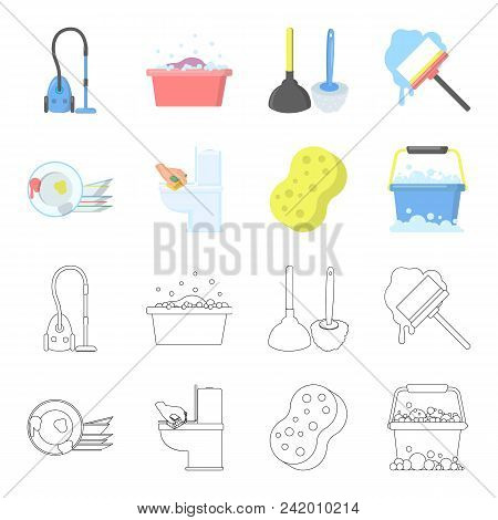 Cleaning And Maid Cartoon, Outline Icons In Set Collection For Design. Equipment For Cleaning Vector