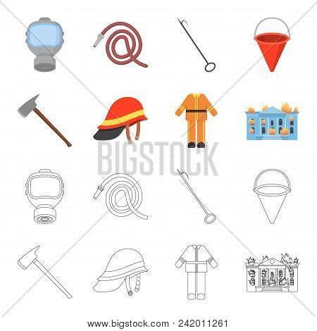 Ax, Helmet, Uniform, Burning Building. Fire Departmentset Set Collection Icons In Cartoon, Outline S