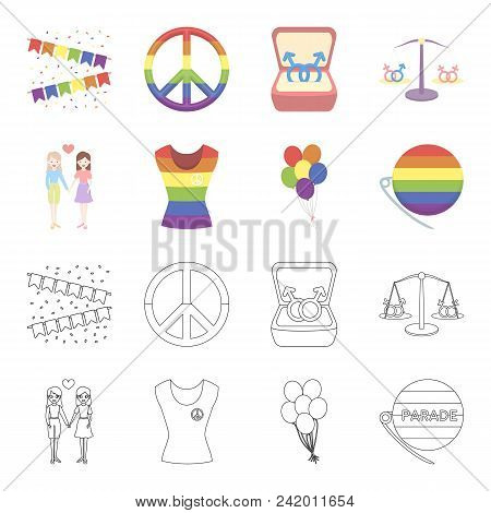 Lesbians, Dress, Balls, Gay Parade. Gay Set Collection Icons In Cartoon, Outline Style Vector Symbol