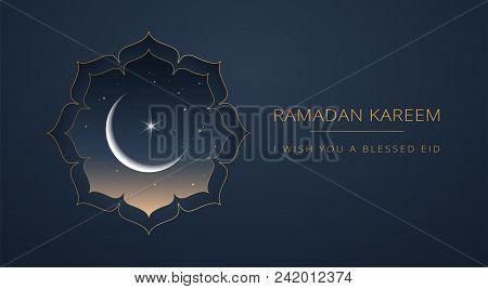 Ramadan Kareem Islamic Greeting Card Vector Design