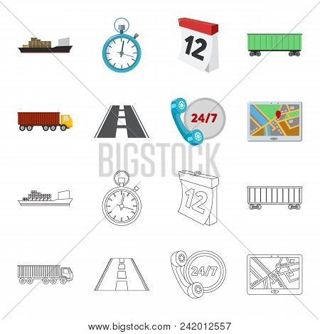 Round The Clock, Road, Truck, Jps.loqistic, Set Collection Icons In Cartoon, Outline Style Vector Sy