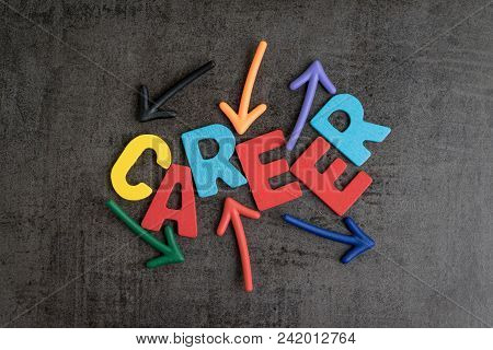 Career Path Work Opportunities Concept, Colorful Wooden Alphabets Combine Word Career With Uncertain