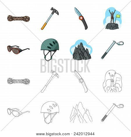 Helmet, Goggles, Wedge Safety, Peaks In The Clouds.mountaineering Set Collection Icons In Cartoon, O