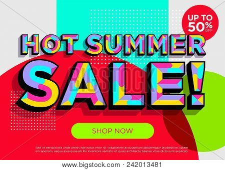 Hot Summer Sale Vector Banner. Bright Colorful Special Offer Concept. Trendy Geometric Background. 3