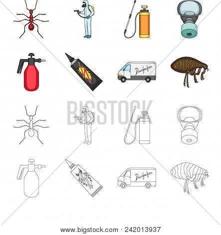 Flea, Special Car And Equipment Cartoon, Outline Icons In Set Collection For Design. Pest Control Se