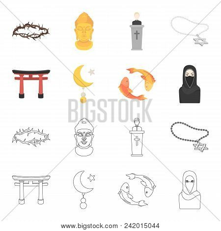 Torii, Carp Koi, Woman In Hijab, Star And Crescent. Religion Set Collection Icons In Cartoon, Outlin