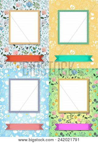 Set Of Floral Greeting Cards. Graceful Flowers And Plants With Drawing And Watercolor Effects. Frame