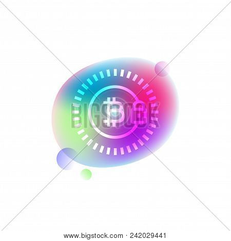Vector Neon White Line Icon Of Cryptocurrency Symbol With A Lock