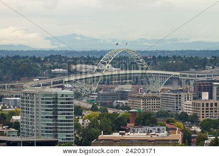 Fremont Bridge Over Industrial Area In Portland