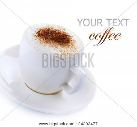 Coffee Cappuccino or Latte over white