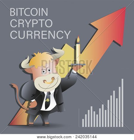 Bull Businessman With A Candle And Growing Bitcoin. Cryptography, An Illustration Of Financial Techn