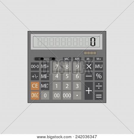 Calculator Icon In Flat Style. Calculator Isolated On A White Background. Vector Electronic Calculat