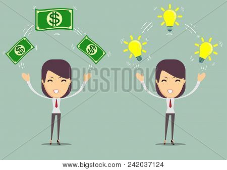 Flat Design Of Exchange Business Ideas And Money. Woman Holding Light Bulb Like An Idea And Money. B