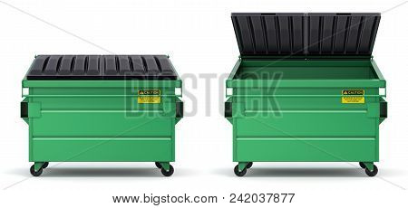 Open And Closed Green Dumpster On White Background - 3d Illustration