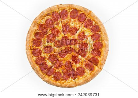 Whole Baked Pizza Isolated On White Background. Top View