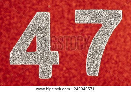 Number Forty-seven Silver Color Over A Red Background. Anniversary. Horizontal