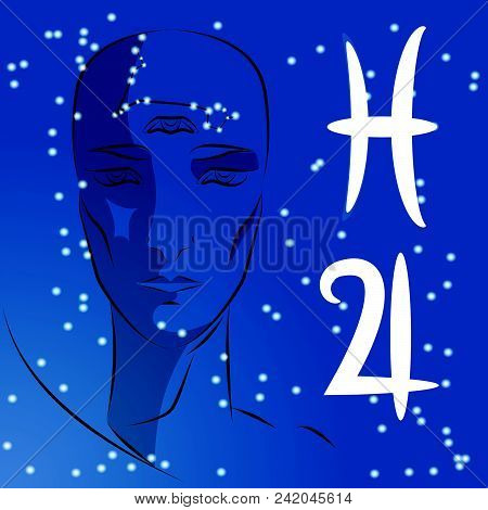 Sign Of Zodiac Aries. Girl Is Fortuneteller With Third Eye, Constellation, Sign Of Zodiac And Planet
