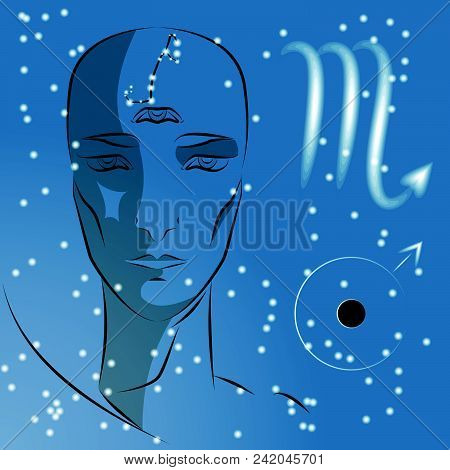 Sign Of Zodiac Scorpio. Girl Is Fortuneteller With Third Eye, Constellation, Sign Of Zodiac And Plan