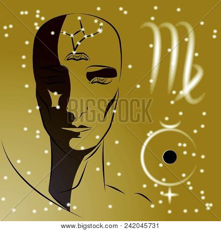 Sign Of Zodiac Virgo. Girl Is Fortuneteller With Third Eye, Constellation, Sign Of Zodiac And Planet