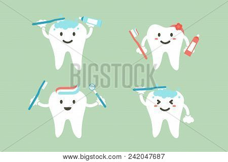 Set Of Tooth Is Brushing Teeth - Dental Cartoon Vector Flat Style Cute Character For Design