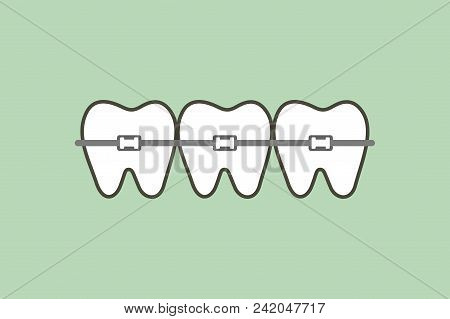 Orthodontic Teeth Or Dental Braces - Tooth Cartoon Vector Flat Style Cute Character For Design