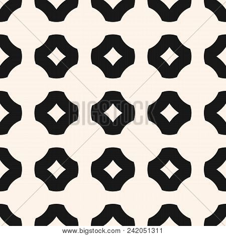 Vector Black And White Geometric Seamless Pattern. Simple Ornamental Texture With Floral Shapes, Rou