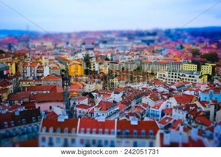 Miniature Tilt Shift Lens Effect Of Old European City Architecture. Lisbon, Portugal.