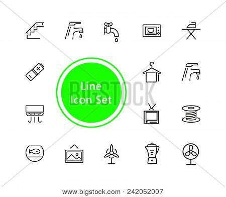 Home Icons. Set Of Line Icons. Electric Fan, Ironing, Battery. Domestic Life Concept. Vector Illustr