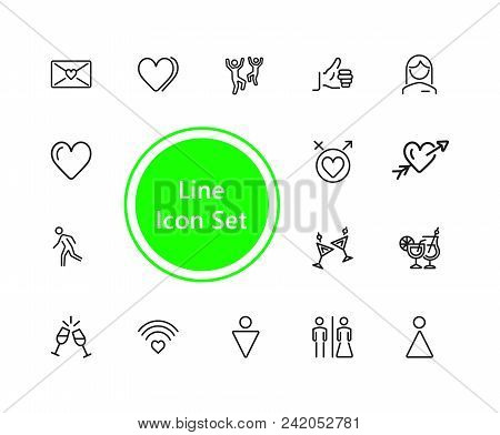 Relations Icons. Set Of  Line Icons. Dancing, Heart, Toast. Love Concept. Vector Illustration Can Be