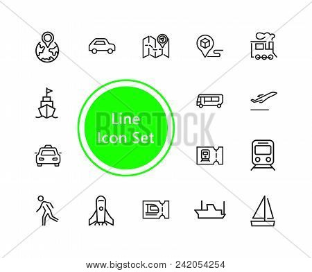 Journey Icons. Set Of  Line Icons. Train, Bus, Plane. Journey Concept. Vector Illustration Can Be Us