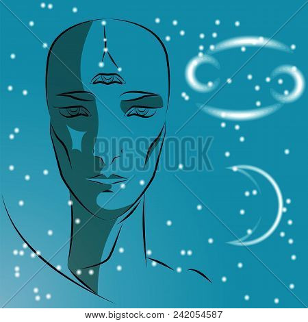 Sign Of Zodiac Cancer. Girl Is Fortuneteller With Third Eye, Constellation, Sign Of Zodiac And Plane