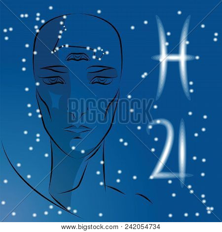 Sign Of Zodiac Pisces. Girl Is Fortuneteller With Third Eye, Constellation, Sign Of Zodiac And Plane