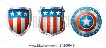Icons Of Shield, With American Traditional Design, Eps 10 Contains Transparency.