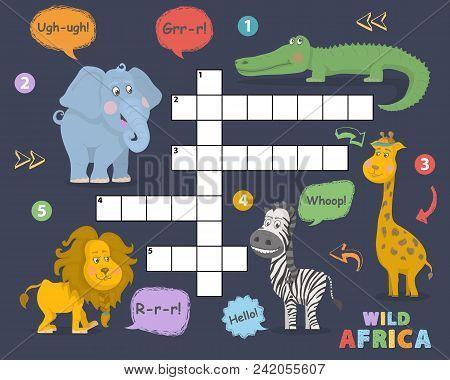 African Animals Crossword. Elephant, Giraffe, Alligator, Zebra, Lion Cute Vector Illustration. Kids