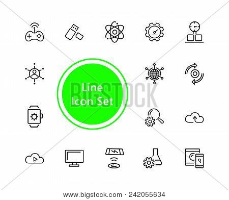 Technology Icons. Set Of  Line Icons. Smartwatch, Wireless Game Controller, Cloud Storage. Modern Te