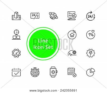 Timing Icons. Set Of  Line Icons. All The Day, Deadline, Schedule. Time Management Concept. Vector I