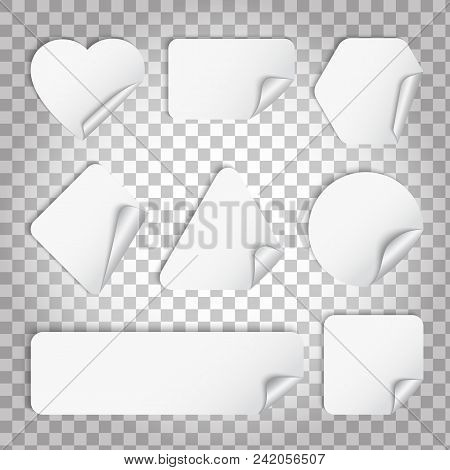 White Paper Sticker With Curl And Shadow Illustrattion On A Transparent Background. Set Of Blank Sti