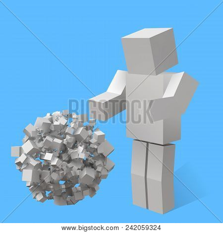 Big Sphere Formed By Random Cubes And Cubic Character. Suitable For Banner, Ad, Technology And Abstr