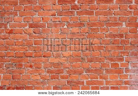 Red Brick Wall Old Weathered Texture Background. Abstract Grunge Stone Pattern, Aged Red Wall With S