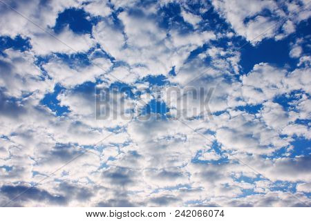 Cloudy Sky Beautiful Cloudscape Background. Natural Blue Sky With Many Clouds Outdoors, Cloudscape O