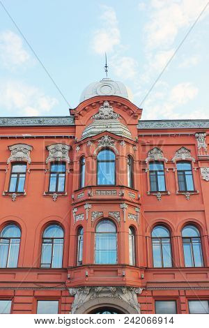 Historic Building Facade Architecture Classic Old House Close Up View In Saint Petersburg, Russia. C