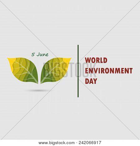 Green Leaves Sign. World Environment Day Concept Vector Logo Design Template.june 5st World Environm