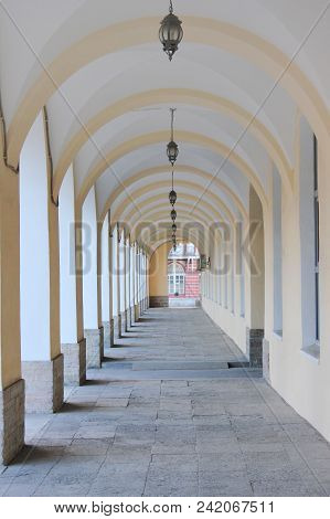 Building Outdoor Architecture Arched Passageway, Straight Long Gallery Corridor. Perspective View Of