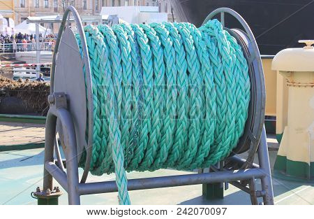 Ship Ropes Sack At Naval Icebreaker Ship. Azure Cable Ropes Wire On Navy Ship Deck, Boat Equipment D